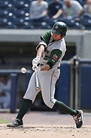 Fort Wayne TinCaps first baseman Brad Zunica (35) connects with a home run against the West Michigan Michigan Whitecaps during the Midwest League baseball game on April 26, 2017 at Fifth Third Ballpark in Comstock Park, Michigan. West Michigan defeated Fort Wayne 8-2. (Andrew Woolley/Four Seam Images)