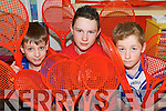 RACKET HALL: Shaun Palmer, Damien O'Brien and Kieran Foley were just some of the students from Meenkilly National School in Abbeyfeale who organised a Jumble Sale at the school on Friday afternoon to raise funds for the Abbeyfeale and Templeglantine Cherynoble Groups..   Copyright Kerry's Eye 2008