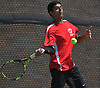 Preet Rajpal of Syosset returns a volley during the Nassau County varsity boys tennis doubles final at Oceanside High School on Sunday, May 21, 2017. He and doubles partner Eli Grossman (not pictured) bested Zachary Khazzam and Sangjin Song on Roslyn 7-6, 6-2 to claim the county doubles title.