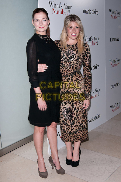 Heather Burns & Ari Graynor.New York Screening of 'What's Your Number?', New York City, NY, USA..27th September, 2011.full length black brown beige leopard print lace dress arm around waist gold hoop earrings necklace red lipstick .CAP/ADM/CS.©Christopher Smith/AdMedia/Capital Pictures.