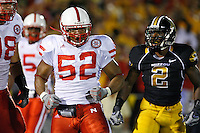 Nebraska Cornhuskers linebacker Phillip Dillard celebrates preventing a touchdown while covering MU wide receiver William Franklin during the second quarter at Memorial Stadium in Columbia, Missouri on October 6, 2007. The Tigers won 41-6.
