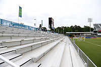 Cary, North Carolina  - Wednesday May 24, 2017: View of the north stand and scoreboard of Sahlen's Stadium prior to a regular season National Women's Soccer League (NWSL) match between the North Carolina Courage and the Sky Blue FC at Sahlen's Stadium at WakeMed Soccer Park. The Courage won the game 2-0.