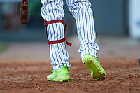 A close-up of the Adidas cleats worn by Gwinnett Stripers outfielder Cristian Pache (15) during the game against the Scranton/Wilkes-Barre RailRiders at BB&T BallPark on August 17, 2019 in Lawrenceville, Georgia. The Stripers defeated the RailRiders 8-7 in eleven innings. (Brian Westerholt/Four Seam Images)