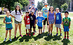 WATERBURY CT. - 05 August 2020-080520SV06-Kids from the YMCA play a game on the green in Waterbury Wednesday. They are participating in the Race4Chase kids triathlon camp.<br /> Steven Valenti Republican-American