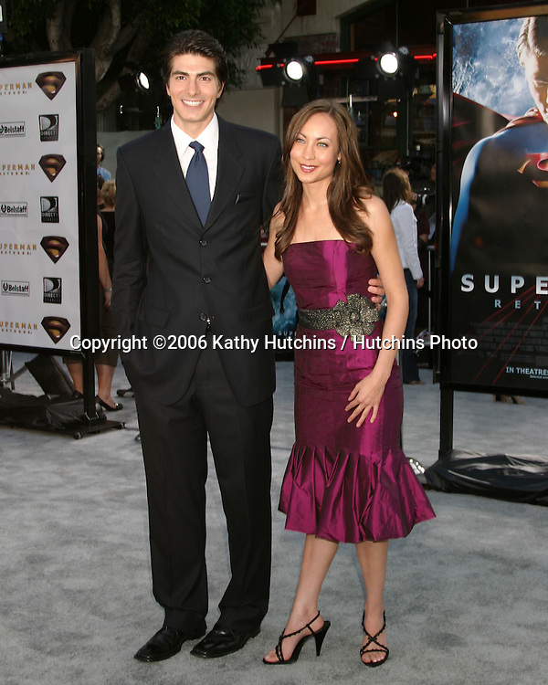 "Brandon Routh & Courtney Ford.""Superman Returns"" Premiere.Mann's Village Theater.Westwood, CA.June 21, 2006.©2006 Kathy Hutchins / Hutchins Photo...."
