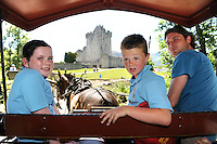XXJOB 17-6-2014: Schoolchildren from St. Oliver's National School, Killarney, from left, Megan Lenihan, Paddy Coffey and Jarvey Henry McCarthy, pictured on a jaunting car trip to Ross Castle for their school tour on Tuesday.<br /> Picture by Don MacMonagle