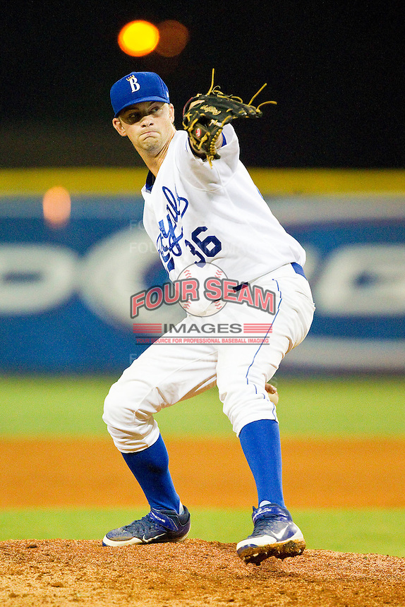 Burlington Royals relief pitcher Lincoln Rassi #36 in action against the Bristol White Sox at Burlington Athletic Park on July 6, 2012 in Burlington, North Carolina.  The Royals defeated the White Sox 5-2.  (Brian Westerholt/Four Seam Images)