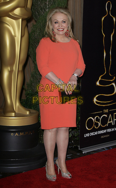 Jacki Weaver.85th Academy Awards Nominees Luncheon held at the Beverly Hilton Hotel, Beverly Hills, California, USA..February 4th, 2013.oscars full length dress black clutch bag orange pink coral  .CAP/ADM.©AdMedia/Capital Pictures.