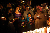 A large crowd gathers for the candle light vigil at the Sikh Gurudwara of North Carolina in Durham to honor the victims of the Oak Creek shooting on Wednesday August 8th 2012.