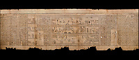 "Ancient Egyptian Book of the Dead papyrus - Spell 105 for gratifying the deceased with Ka, Iufankh's Book of the Dead, Ptolemaic period (332-30BC).Turin Egyptian Museum. Black background<br /> <br /> The spell is "" Hail to thee, my spirit, my lifetime. Behold I am come unto thee risen, powerful, posessed of a soul, mighty.<br /> <br /> You who weighs in the balance. may truth rise to the nose of Ra, on that day of judgement, ley not my head be taken away from me.""<br /> <br /> The translation of  Iuefankh's Book of the Dead papyrus by Richard Lepsius marked a truning point in the studies of ancient Egyptian funereal studies."