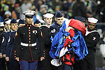 Area military personnel bring out the U.S. flag against the Carolina Panthers at CenturyLink Field in Seattle, Washington on December 4, 2016.  Seahawks beat the Panthers 40-7.  ©2016. Jim Bryant photo. All Rights Reserved.