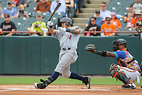 Bowie, MD - May 21, 2017: Binghamton Rumble Ponies LJ Mazzilli loses his bat during the MiLB game between Binghamton and Bowie at  Baysox Stadium in Bowie, MD.  (Photo by Elliott Brown/Media Images International)