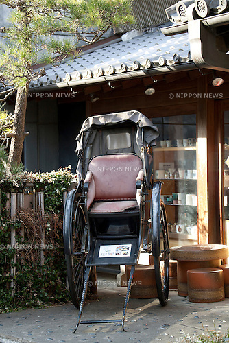 "February 14, 2013, Kawagoe, Japan - A Human-wheeled vehicle at Little Edo in Kawagoe. An old town from Edo Period (1603-1867) is located in Kawagoe, 30 minutes by train from central Tokyo. In the past Kawagoe was an important city for trade and strategic purpose, the shogun installed some of their most important loyal men as lords of Kawagoe Castle. Every year ""Kawagoe Festival"" is held in the third weekend of October, people pull portable shrine during the parade, later ""dashi"" floats on the streets nearby. The festival started 360 years ago supported by Nobutsuna Matsudaira, lord of Kawagoe Castle. (Photo by Rodrigo Reyes Marin/AFLO).."
