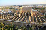 Raised angle view of Great Mosque, Mezquita cathedral, former mosque building in central, Cordoba, Spain