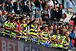 Michael Hefele of Huddersfield Town lifs the trophy during the SkyBet Championship Play Off Final match at the Wembley Stadium, England. Picture date: May 29th, 2017.Picture credit should read: Matt McNulty/Sportimage
