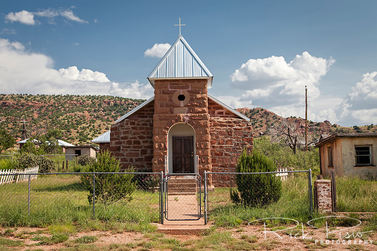 Catholic church in the abandoned town of Cuervo in New Mexico