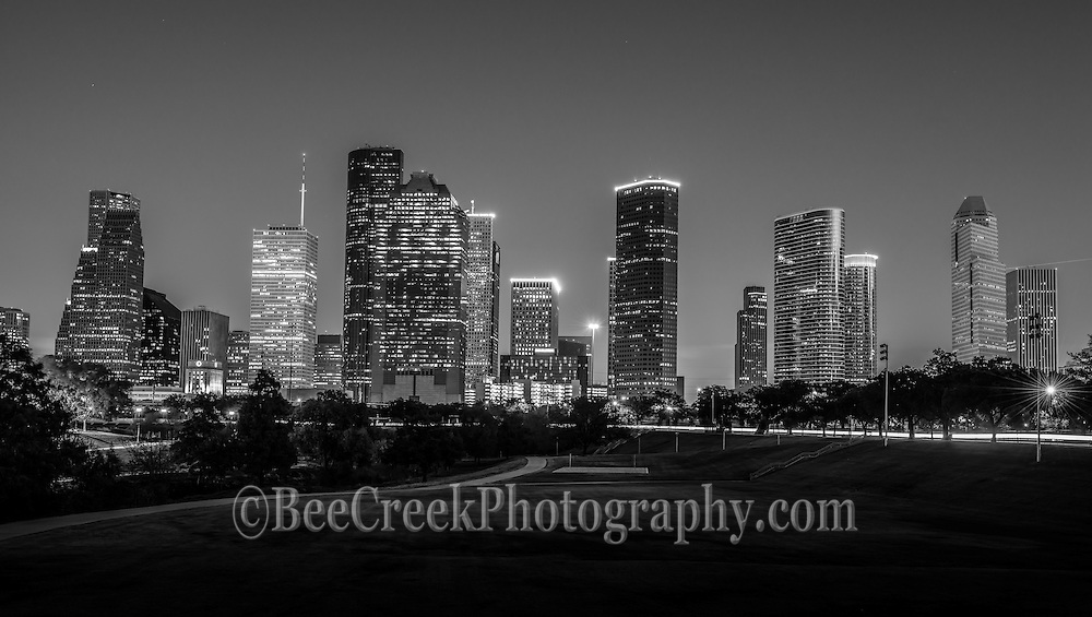 This is an image of the Houston skyline at night in the downtown area with all the buildings lights on.  This image is done in black and white we also have the color version.
