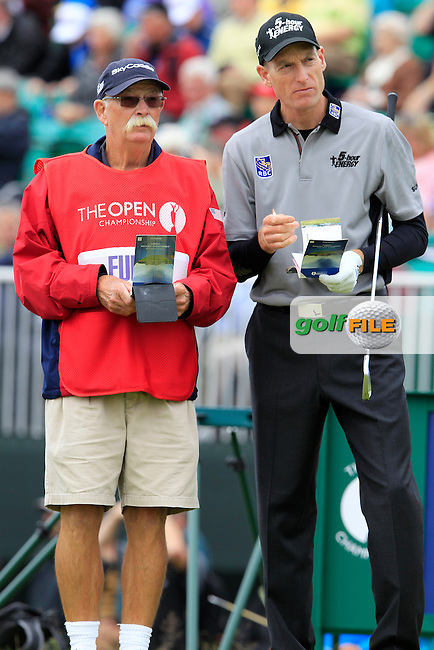 """Jim Furyk (USA) and caddy Mike """"Fluff"""" Cowan on the 5th tee during Friday's Round 2 of the 141st Open Championship at Royal Lytham & St.Annes, England 20th July 2012 (Photo Eoin Clarke/www.golffile.ie)"""