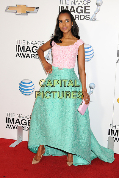 Kerry Washington.44th NAACP Image Awards - Arrivals held at the Shrine Auditorium, Los Angeles, California, USA, .1st February 2013..full length green dress skirt white hand on hip patterned brocade structured  pink clutch bag pastel beige shoed .CAP/ADM/BP.©Byron Purvis/AdMedia/Capital Pictures.