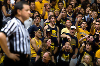 California fans yell at the referee for a bad call during the game between California and Stanford at Haas Paviliion in Berkeley, California on March 6th, 2013.  Stanford defeated California, 83-70.