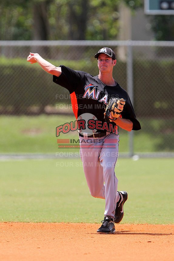 Miami Marlins shortstop Daniel Black #24 during a minor league spring training game against the New York Mets at the Roger Dean Sports Complex on March 28, 2012 in Jupiter, Florida.  (Mike Janes/Four Seam Images)
