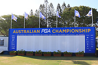 The score-board during the Preview of the Australian PGA Championship at the RACV Royal Pines Resort, Gold Coast, Queensland, Australia. 17/12/2019.<br />