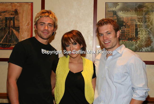 OLTL's Farah Fath poses with Mark Lawson and John-Paul Lavoisier at the One Life To Live Fan Club Luncheon on August 16, 2008 at the New York Marriott Marquis, New York, New York.  (Photo by Sue Coflin/Max Photos)
