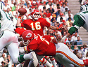 Kansas City Chiefs Len Dawson (16)  during a game from his career with the Kansas City Chiefs. Len Dawson played for 19 years, with 3 different teams. He was a 7-time Pro Bowler and was inducted to the Pro Football Hall of Fame in 1987.(SportPics)