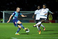 Michael Harriman of Wycombe Wanderers and Ryan Sessegnon of Fulham during the Carabao Cup match between Wycombe Wanderers and Fulham at Adams Park, High Wycombe, England on 8 August 2017. Photo by Alan  Stanford / PRiME Media Images.