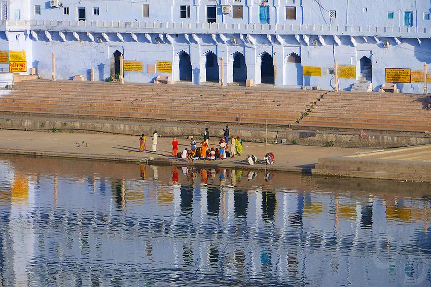 Reflection over the holy Pushkar lake, Rajasthan, India