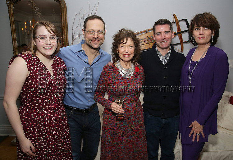 Caitlin Kinnunen, Matthew Sklar, Gretchen Cryer, Chad Beguelin and Beth Leavel attends the Dramatists Guild Fund Salon with Matthew Sklar and Chad Beguelin at the home of Gretchen Cryer on December 8, 2016 in New York City.