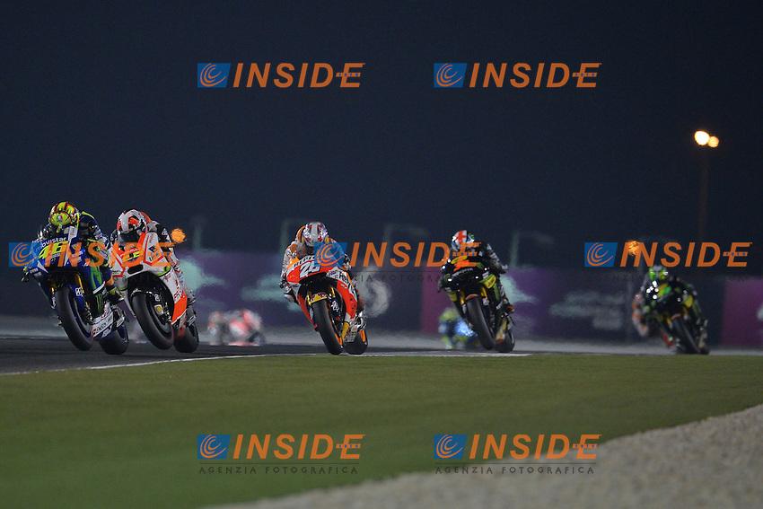 Lg Losail (Qatar) 29/03/2015 - gara Moto GP / foto Luca Gambuti/Image Sport/Insidefoto<br /> nella foto: Valentino Rossi Yamaha winner (L)