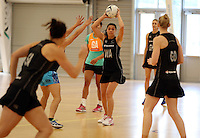 14.10.2014 Silver Ferns Grace Rasmussen in action at the Silver Ferns Training ahead of their netball test match in Auckland tomorrow night. Mandatory Photo Credit ©Michael Bradley.