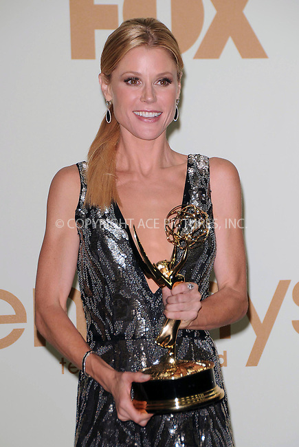 WWW.ACEPIXS.COM . . . . .  ....September 18 2011, LA....Julie Bowen in the press room of the 63rd Annual Primetime Emmy Awards held at Nokia Theatre L.A. on September 18, 2011 in Los Angeles, California....Please byline: PETER WEST - ACE PICTURES.... *** ***..Ace Pictures, Inc:  ..Philip Vaughan (212) 243-8787 or (646) 679 0430..e-mail: info@acepixs.com..web: http://www.acepixs.com