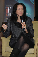 """NEW YORK - OCTOBER 30: Executive Producer Rebecca Cammisa speaks at a panel discussion during the reception for the screening of National Geographic Documentary Films """"Sea of Shadows"""" and """"Lost and Found"""" on October 30, 2019 in New York City. (Photo by Anthony Behar/National Geographic/PictureGroup)"""