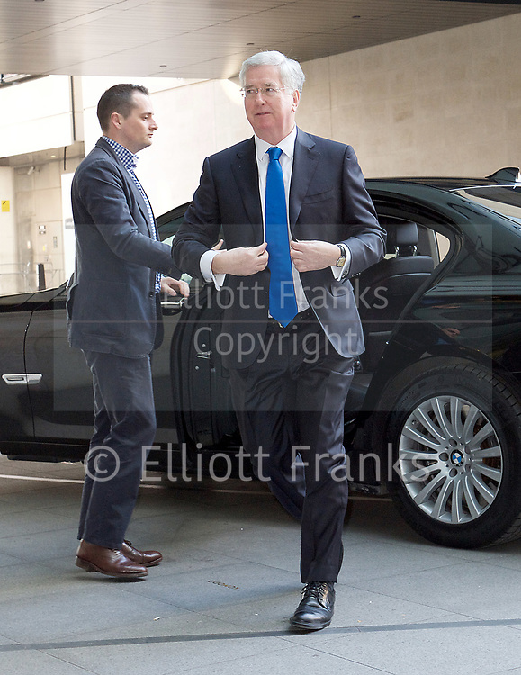 The Andrew Marr Show arrivals at the BBC, Broadcasting House, London, Great Britain <br /> 2nd April 2017 <br /> <br /> Rt Hon Michael Fallon MP <br /> Defence Minister <br /> <br /> <br /> <br /> Photograph by Elliott Franks <br /> Image licensed to Elliott Franks Photography Services