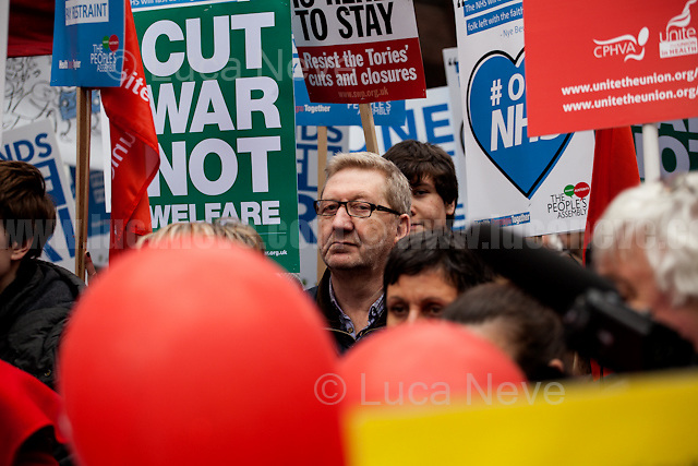 Len McCluskey (British trade unionist who was the General Secretary of Unite from 2011 until his resignation in December 2016).<br /> <br /> London, 04/03/2017. Today, hundreds of thousands activists (estimated 250,000 people for the organisers), doctors, nurses and members of the public marched from Tavistock Square (British Medical Association HQ) to Parliament Square. The demonstration, organised by Health Campaigns Together &amp; The People's Assembly, was called to protest against the National Health Service (NHS) crisis (and alleged privatization plan) which recently led the Red Cross to declare a humanitarian crisis in the British NHS and were forced to intervene. From the organisers Facebook event page: &lt;&lt;[&hellip;] We must fight to save the NHS from destruction. The threat is real. It is happening now. Hospitals, GPs, mental health, ambulance and community services are on their knees. Private companies are gaining an ever greater foothold within the NHS. Years of pay restraint has seen the value of NHS staff salaries reduce by 14% since 2010. The Government's Sustainability and Transformation Plans are a smokescreen for a massive programme of hospital and community service closures, and are its latest instrument for privatisation. The NHS is one of our greatest achievements. We cannot allow it to be undermined and ultimately destroyed. [&hellip;] &quot;the NHS will last as long as there are folk with the faith to fight for it.&quot; Nye Bevan - founder of the NHS [&hellip;]&gt;&gt;.<br /> <br /> For more information please click here: https://www.facebook.com/events/1771664639725061/
