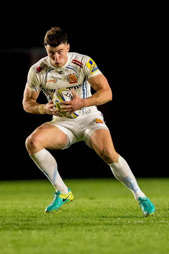 Exeter Chiefs' Ollie Devoto<br /> <br /> Photographer Bob Bradford/CameraSport<br /> <br /> Aviva Premiership Round 20 - Harlequins v Exeter Chiefs - Friday 14th April 2016 - The Stoop - London<br /> <br /> World Copyright &copy; 2017 CameraSport. All rights reserved. 43 Linden Ave. Countesthorpe. Leicester. England. LE8 5PG - Tel: +44 (0) 116 277 4147 - admin@camerasport.com - www.camerasport.com