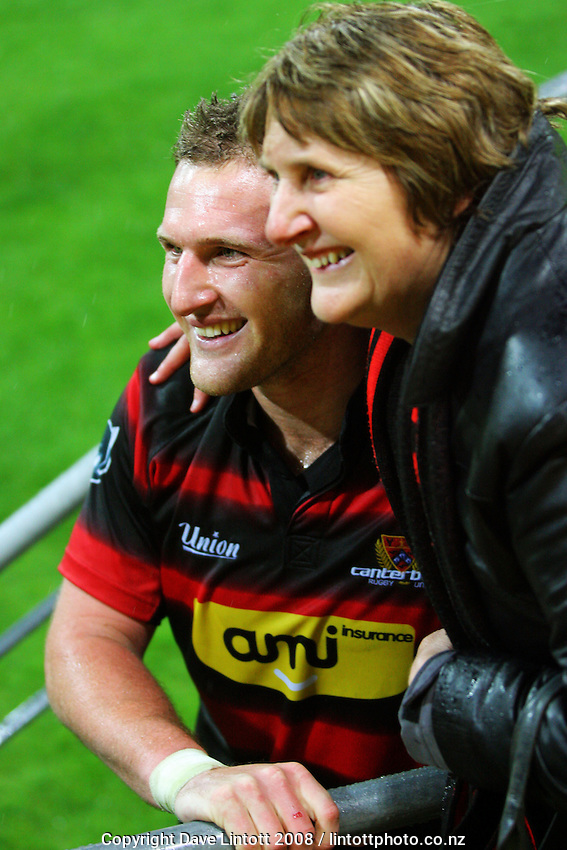 Canterbury captain Kieran Read poses with a supporter after the Air NZ Cup Final between Wellington and Canterbury at Westpac Stadium, Wellington, New Zealand on Saturday 25th October 2008.  Photo: Dave Lintott / lintottphoto.co.nz