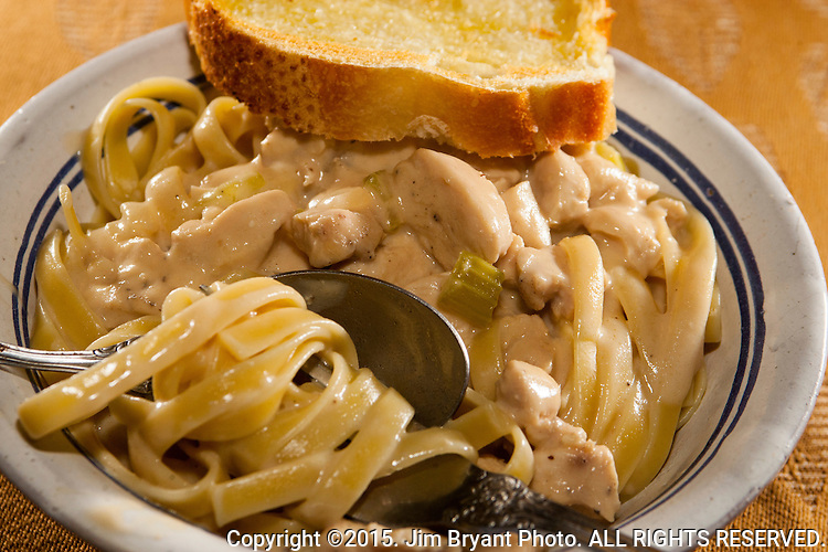 Chicken Fettuccine Alfredo with onions, garlic, Italian celery and chicken.  ©2015. Jim Bryant Photo. ALL RIGHTS RESERVED.