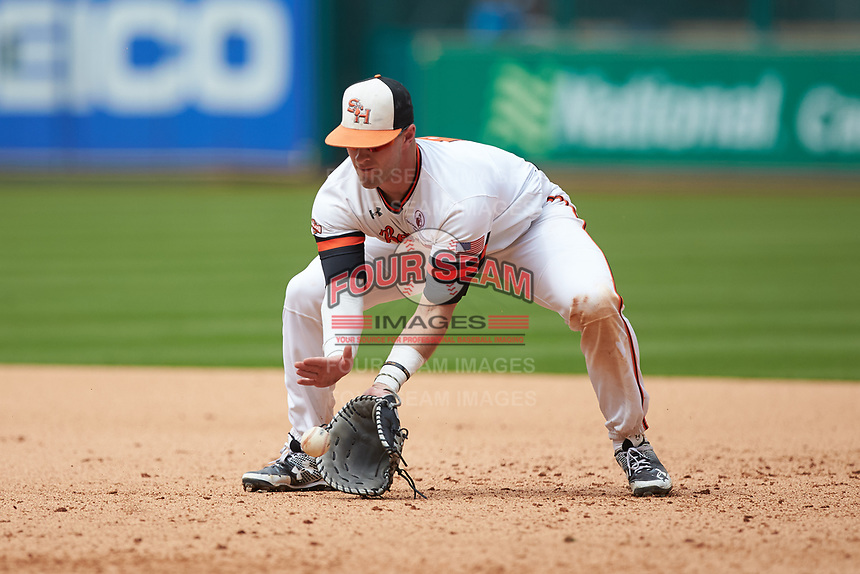 Sam Houston State Bearkats first baseman Ben Haefner (6) fields a ground ball during the game against the Vanderbilt Commodores in game one of the 2018 Shriners Hospitals for Children College Classic at Minute Maid Park on March 2, 2018 in Houston, Texas. The Bearkats walked-off the Commodores 7-6 in 10 innings.   (Brian Westerholt/Four Seam Images)