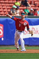 Buffalo Bisons third baseman Matt Dominguez (3) throws to first during a game against the Lehigh Valley IronPigs on August 28, 2016 at Coca-Cola Field in Buffalo, New York.  Lehigh Valley defeated Buffalo 5-2.  (Mike Janes/Four Seam Images)