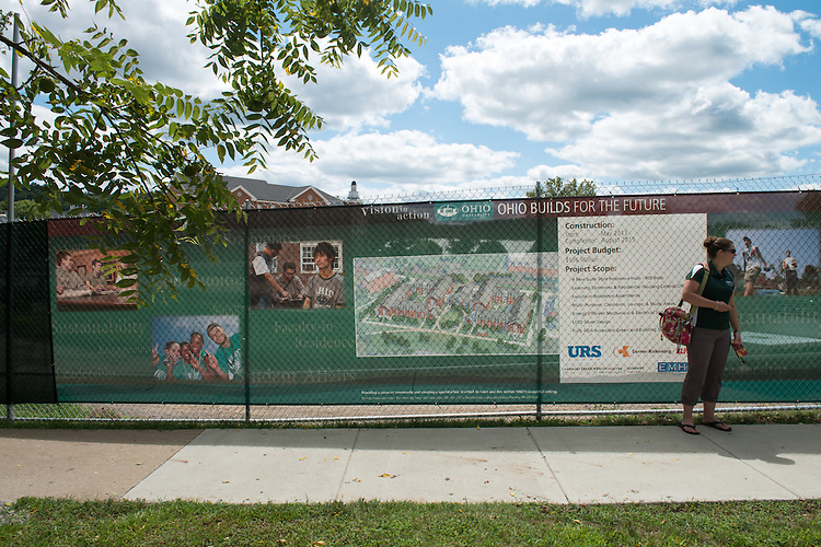The residencial housing construction plan on display at the site of construction. Photo by Ben Siegel