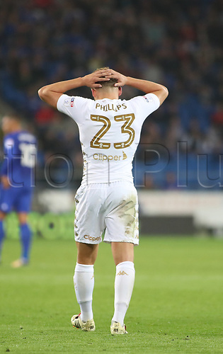 26th September 2017, Cardiff City Stadium, Cardiff, Wales; EFL Championship football, Cardiff City versus Leeds United; Kalvin Phillips of Leeds United holds his hands against his head as Leeds United fail to break through the Cardiff City defense