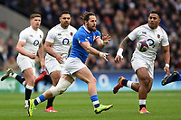 Michele Campagnaro of Italy passes the ball. Guinness Six Nations match between England and Italy on March 9, 2019 at Twickenham Stadium in London, England. Photo by: Patrick Khachfe / Onside Images