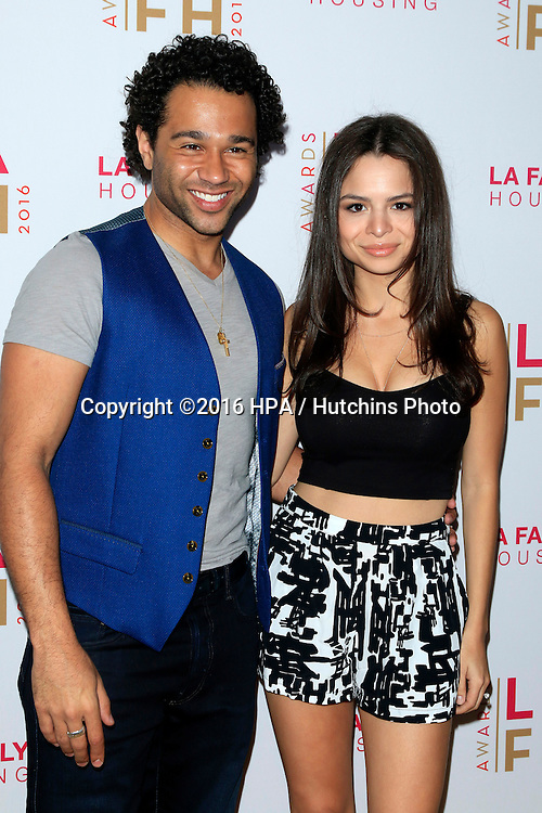 LOS ANGELES - APR 21:  Corbin Bleu, Sasha Clements at the LA Family Housing Awards at the The Lot on April 21, 2016 in Los Angeles, CA