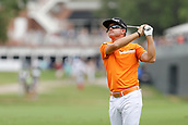 28th May 2017, Fort Worth, Texas, USA; Brian Gay hits his approach shot to #17 during the final round of the PGA Dean & Deluca Invitational at Colonial Country Club in Fort Worth, TX.