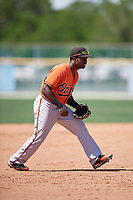Baltimore Orioles Kirvin Moesquit (74) during a minor league Spring Training game against the Tampa Bay Rays on March 29, 2017 at the Buck O'Neil Baseball Complex in Sarasota, Florida.  (Mike Janes/Four Seam Images)
