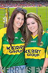 Ashley King, Ashling Muckian, Tralee Kerry fans at the Munster Senior Football Final in Fitzgerald Stadium in Killarney on Sunday.