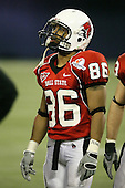 January 5th, 2008:  Ball State wide receiver Dante Love (86) looks up to the scoreboard during the fourth quarter of the International Bowl at the Rogers Centre in Toronto, Ontario Canada...Rutgers defeated Ball State 52-30.  ..Photo By:  Mike Janes Photography